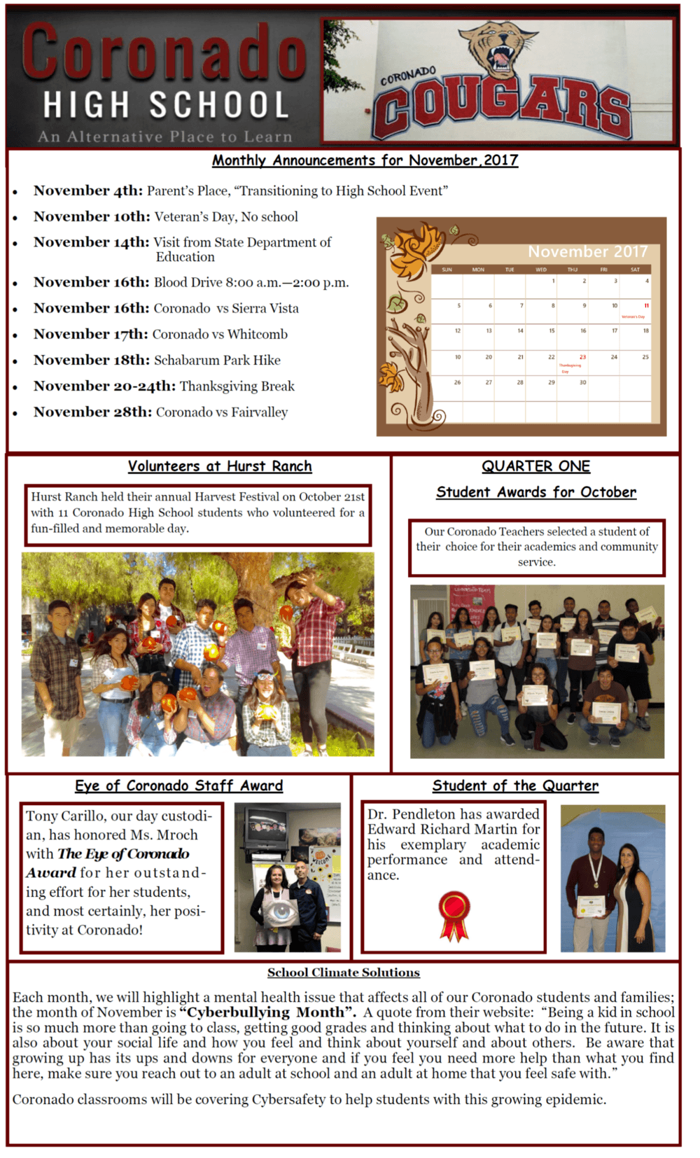 Newsletter for the month at Coronado HS