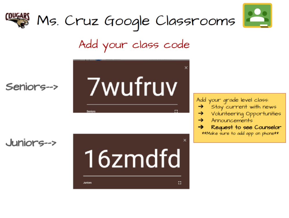 class codes for juniors and seniors google classroom